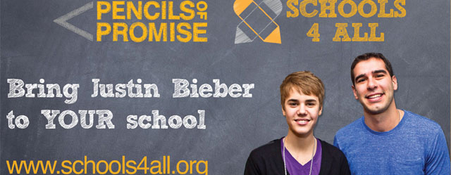 Justin Bieber with Pencils of Promise
